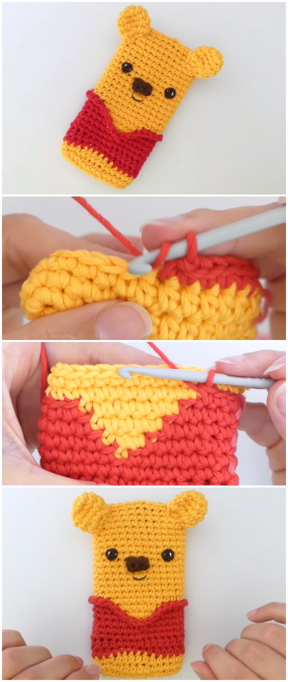 Crochet Winnie the Pooh Phone Cover
