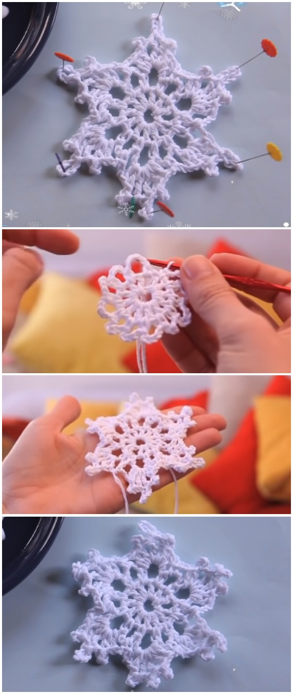 Learn To Crochet Snowflake Christmas Ornament