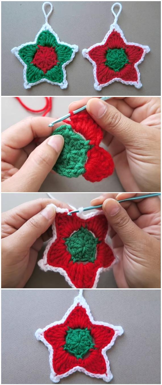 Crochet Stars Christmas Ornament