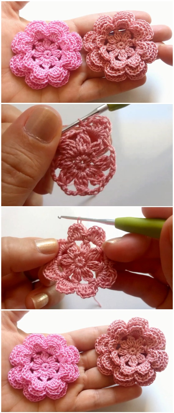 Crochet Triple Layer Petals Flower