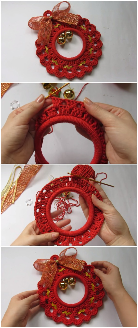Crochet Wreath Christmas Ornament