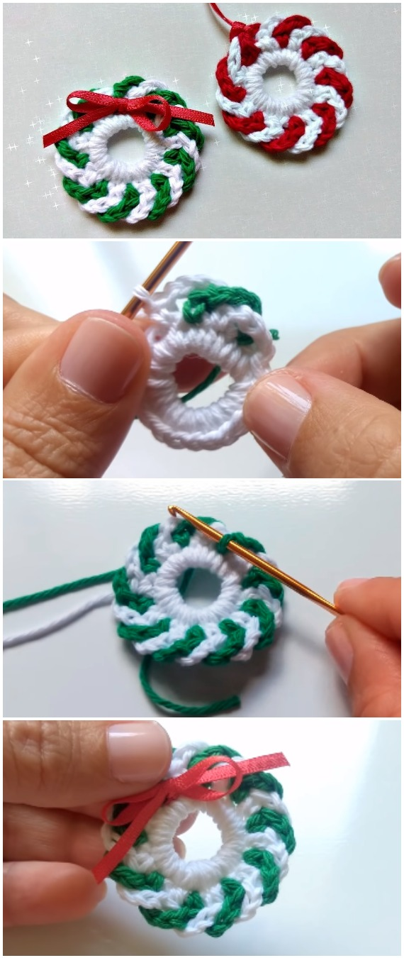 Crochet Wreaths Christmas Ornament
