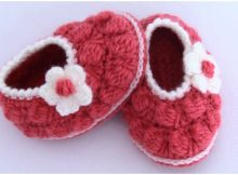 Baby Booties Strawberry Stitch