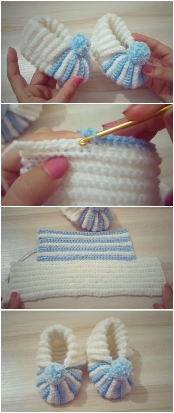 Crochet Baby Booties With Pom Pom