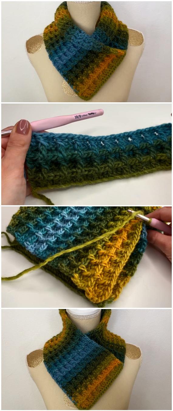 Crochet Scarf Cowl Waffle Stitch