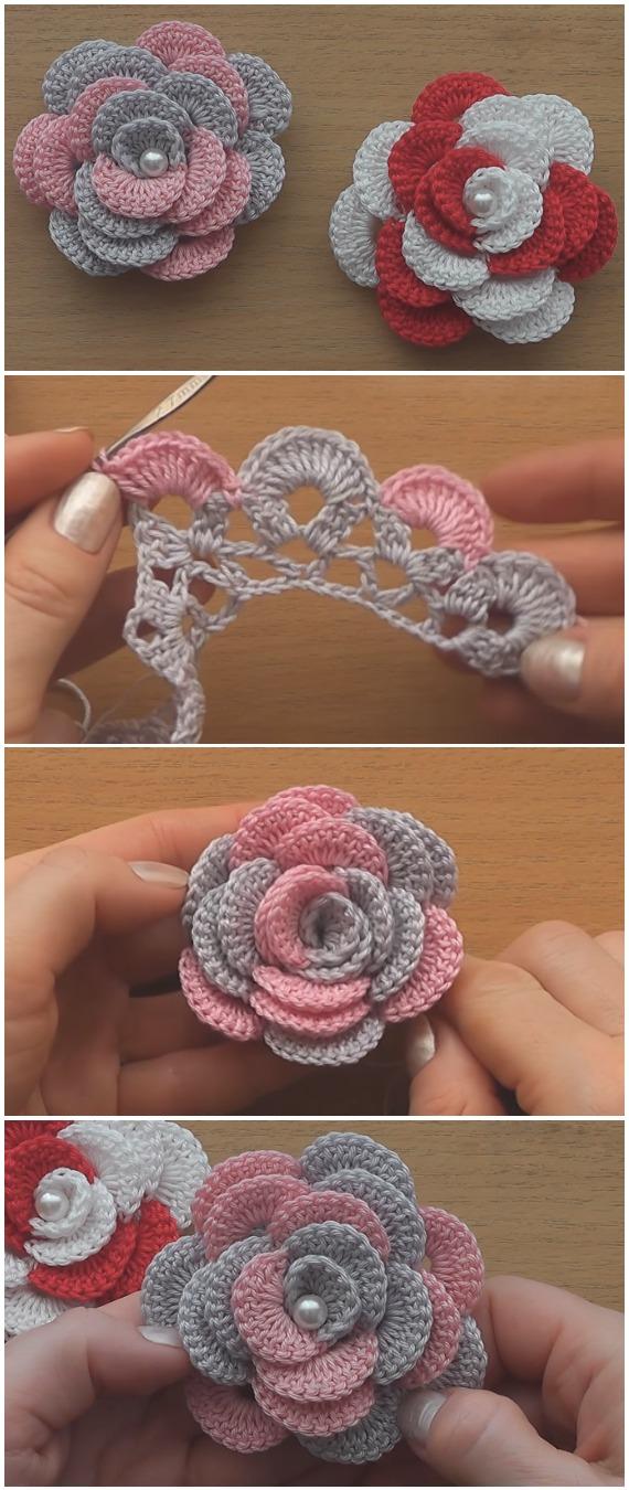 Crochet Easy Flower Roses