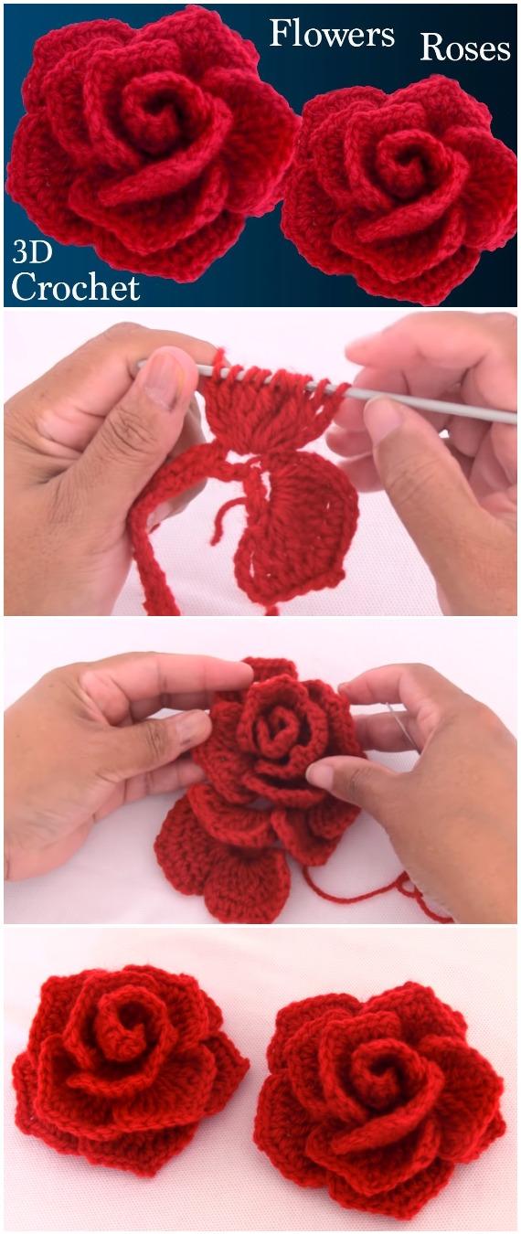 Crochet Easy Red Roses