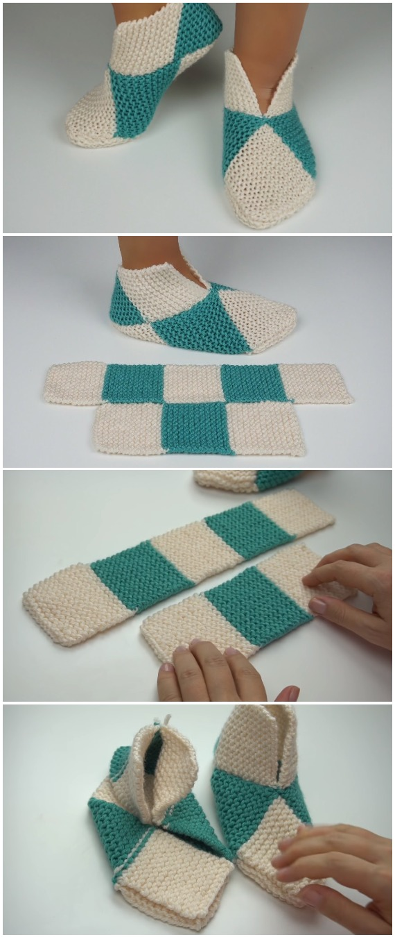 Easy To Fold Slippers - To Crochet Or To Knit
