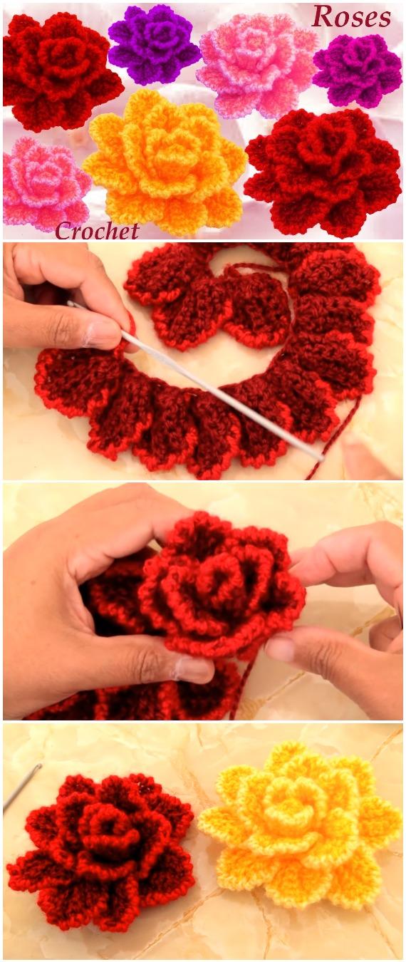 Crochet Natural Flower Roses