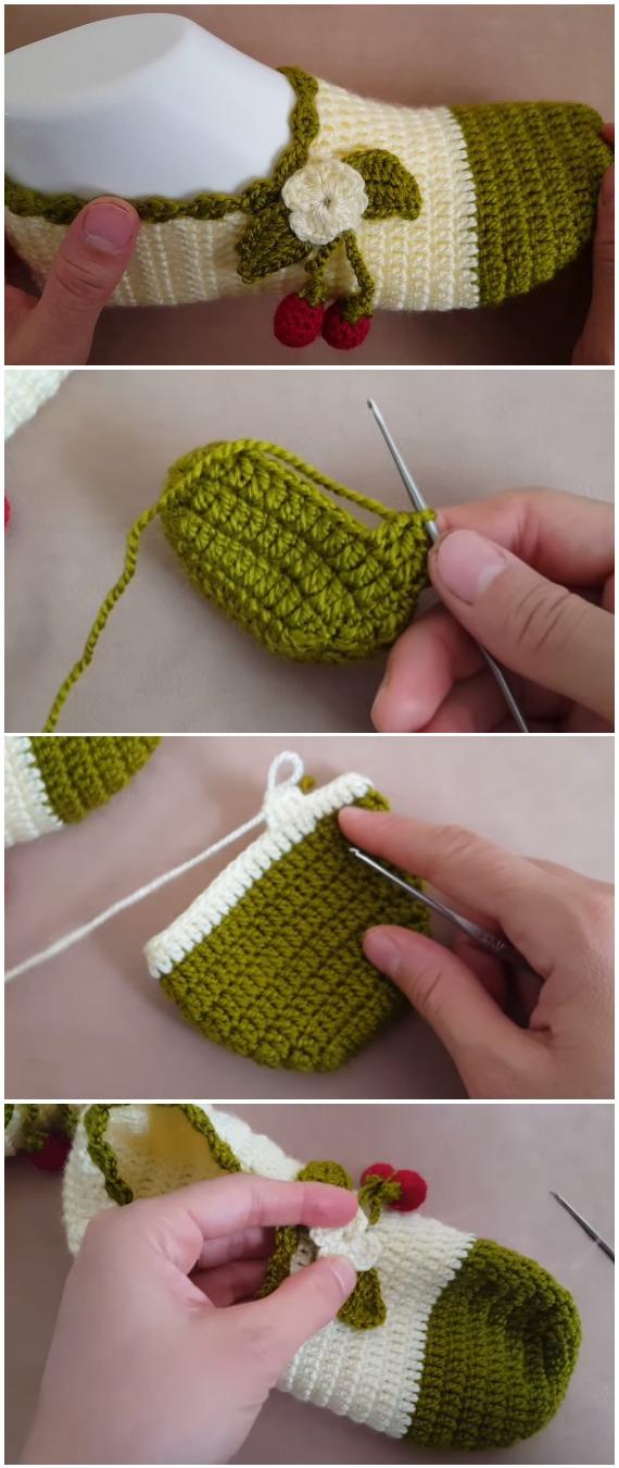 Crochet Easy Cherry Slippers