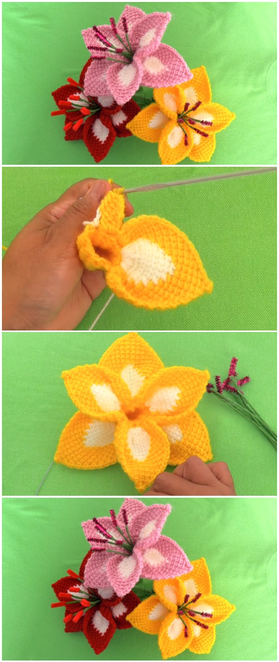 Crochet 3D Flowers Lily
