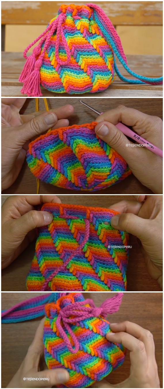 Crochet Apache Tears Stitch Bag