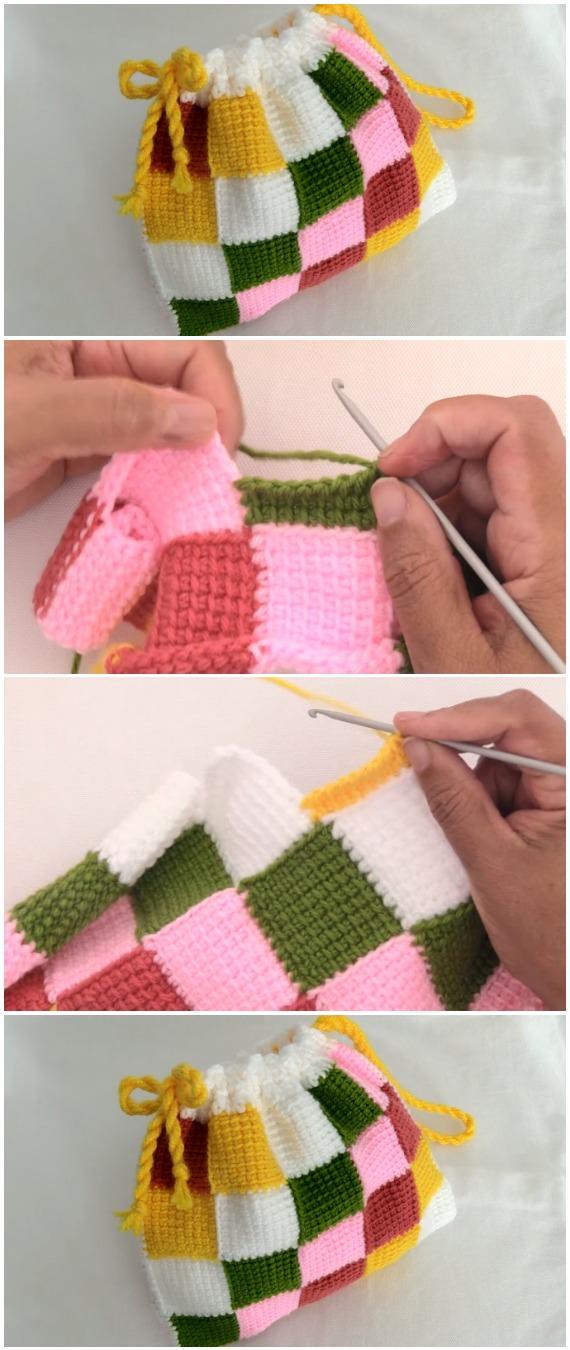 Crochet Entrelac Bag Tunisian Stitch