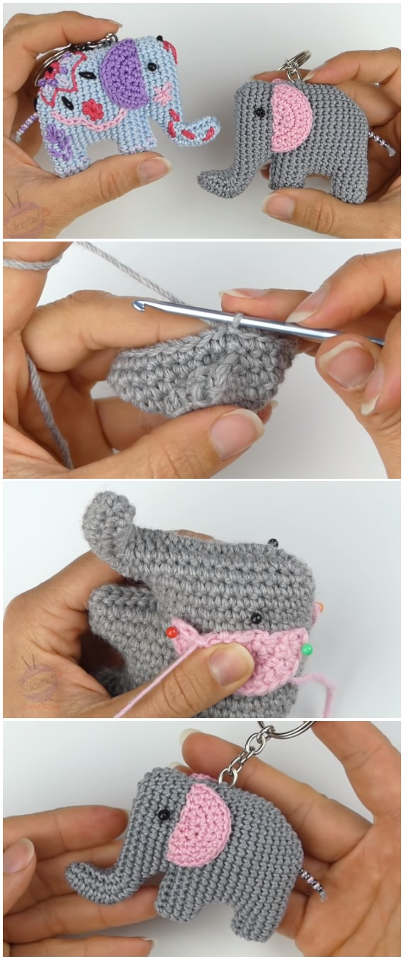 Crochet Keychain Elephants Amigurumi