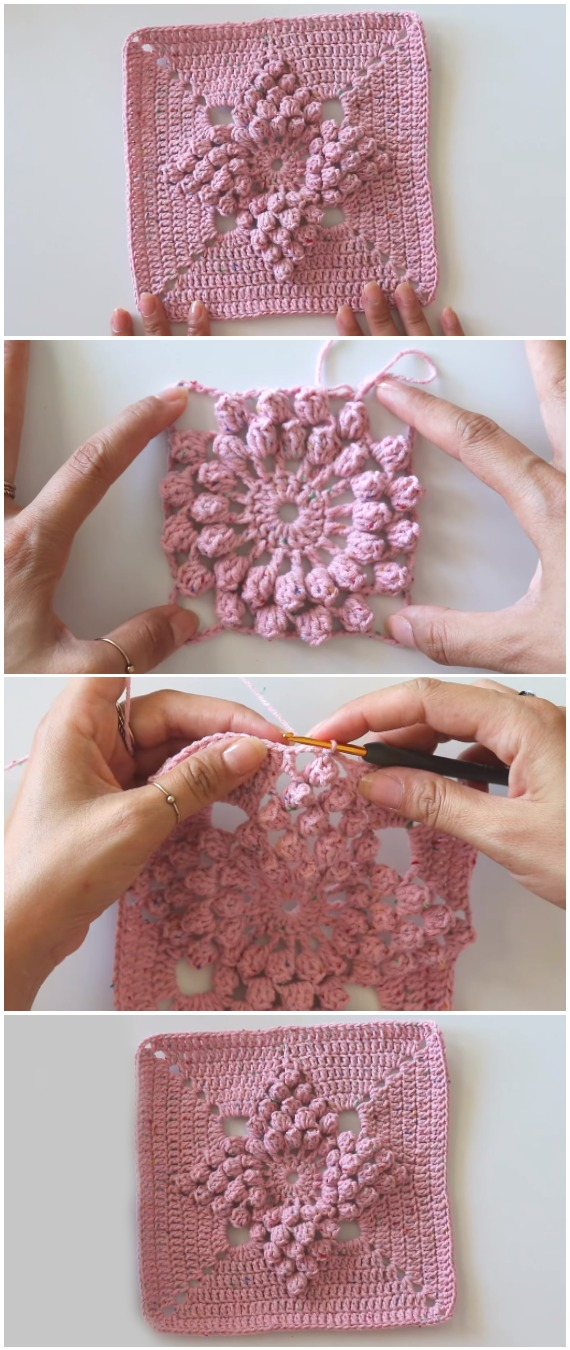 Popcorn Stitch Square - Learn To Crochet