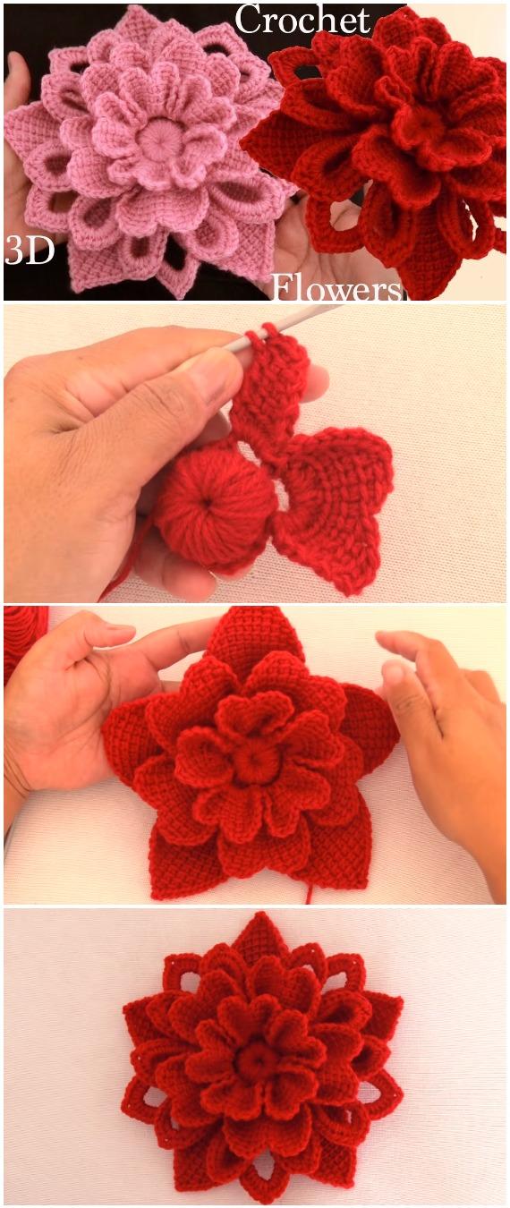 Crochet Easy Red Flowers
