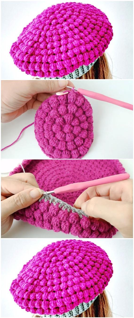 Crochet Woman's Hat Bubble Stitch
