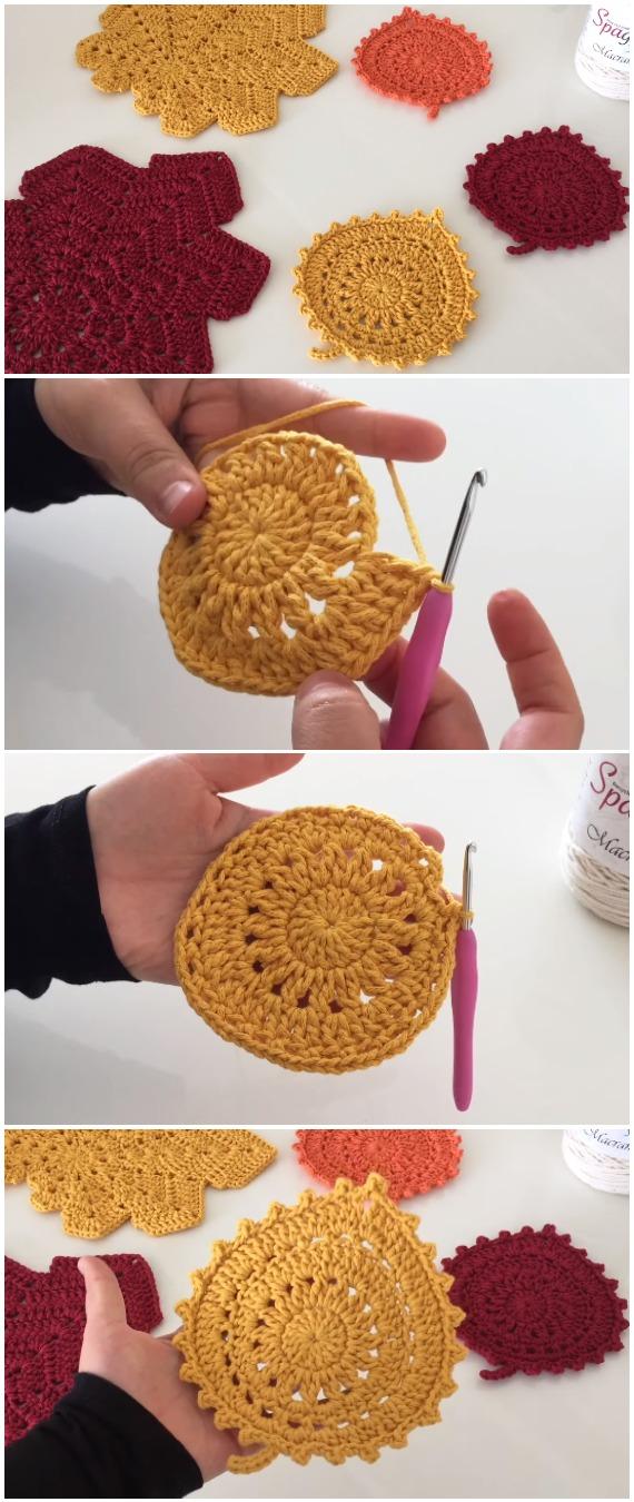 Crochet Autumn Leaf Coasters