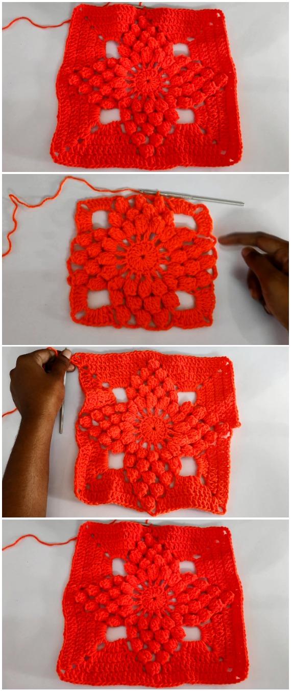 Crochet Easy Popcorn Stitch Granny Square