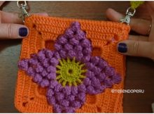 Saddle Bag Granny Square Popcorn Flower
