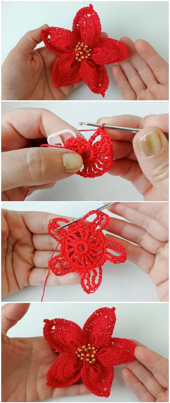 Crochet Easy Christmas Flowers