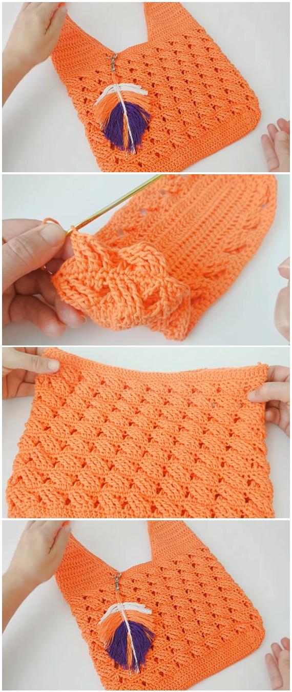 Crochet Market Bag Braids Stitch