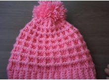 Pink Beanie Hat Waffle Stitch