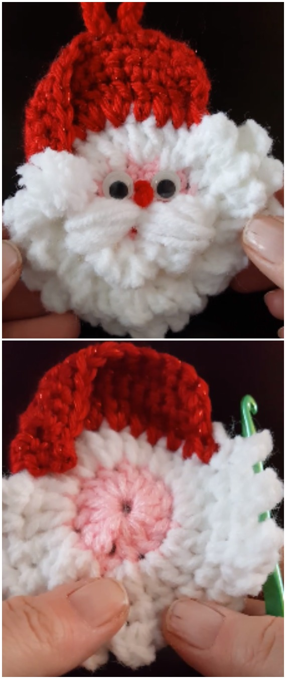 Easy To Crochet Santa Christmas Ornament