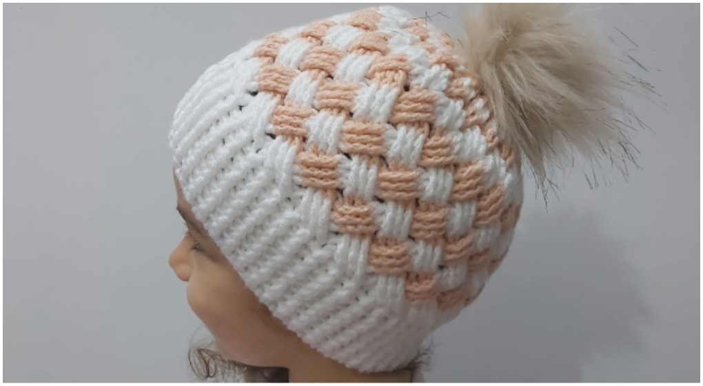 Handmade crocheted ivory basket weave hat