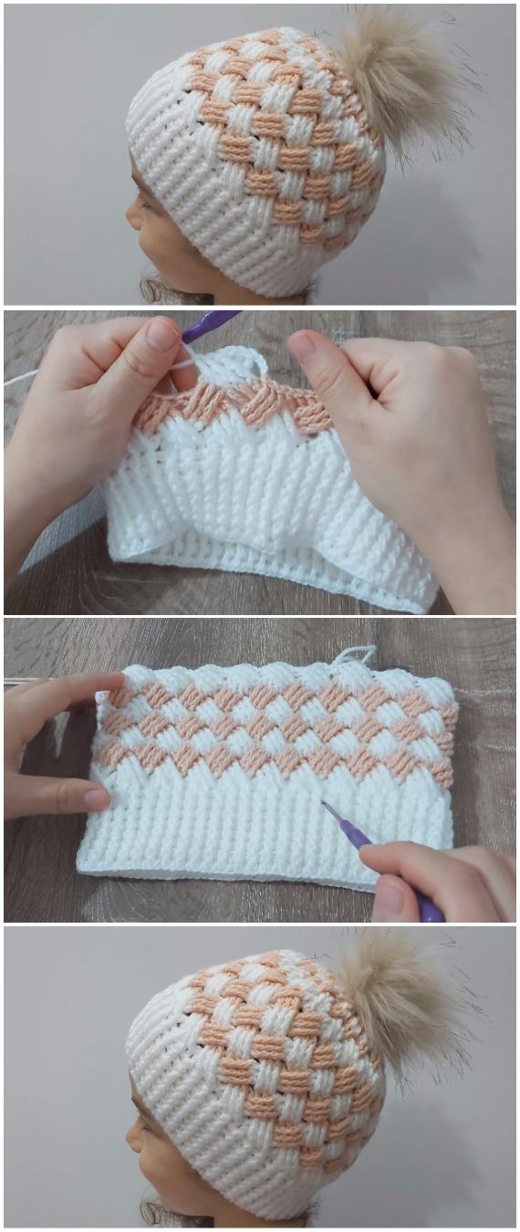 Crochet Beanie Hat Basket Weave Stitch