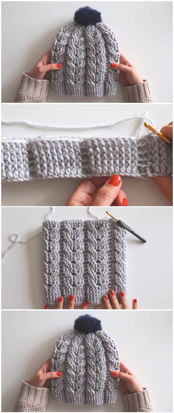 Crochet Beanie Hat With Pom Pom