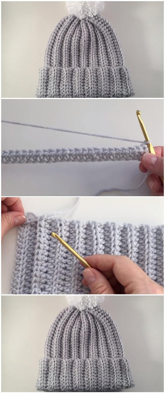 Crochet Beautiful Ribbed Hat