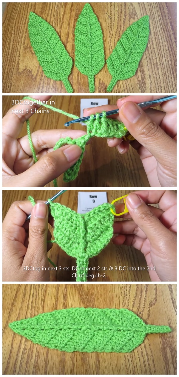 Crochet Easy Big Leaf Applique