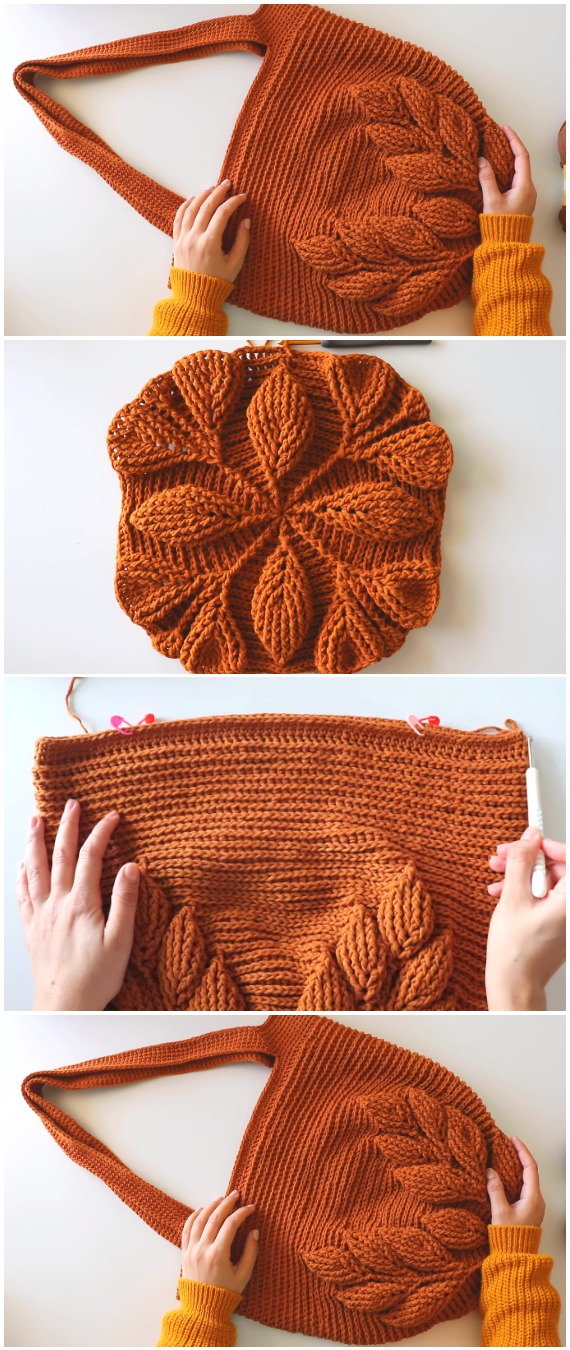 Crochet Beautiful 3D Leaf Bag