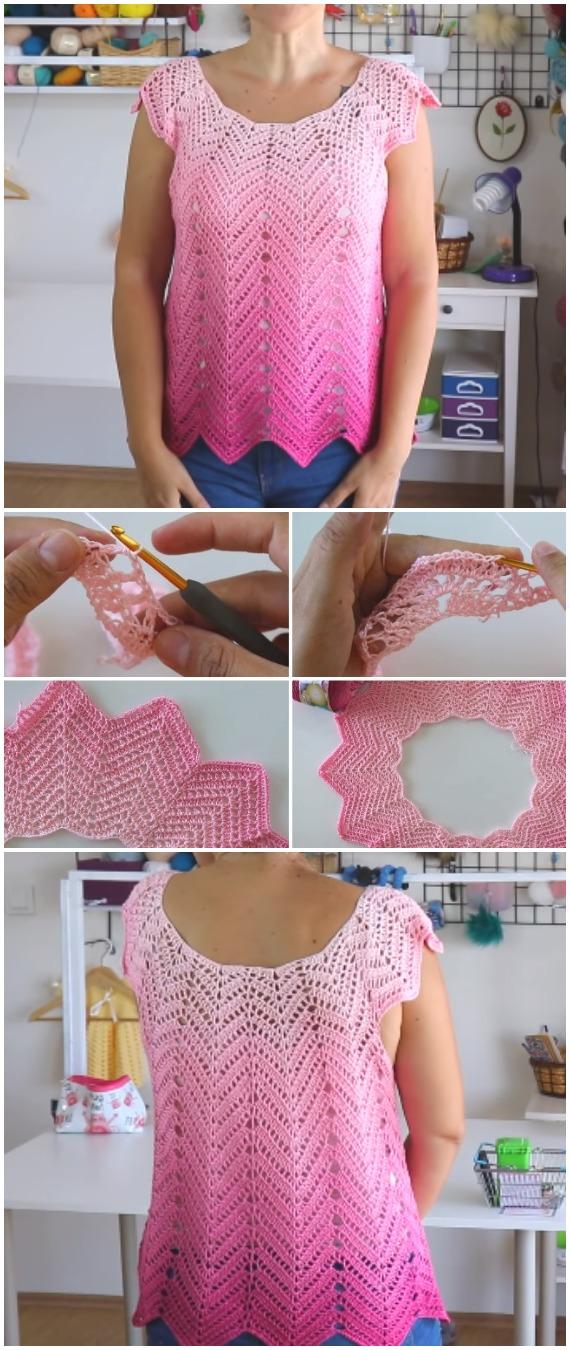 Crochet Chevron Summer Blouse