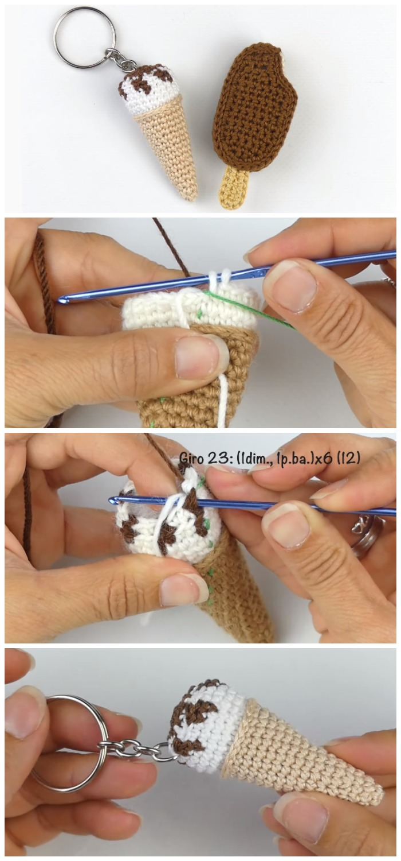 Crochet Easy Ice Cream Keychain