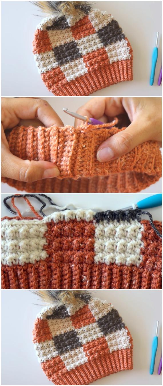 Crochet Plaid Beanie Hat