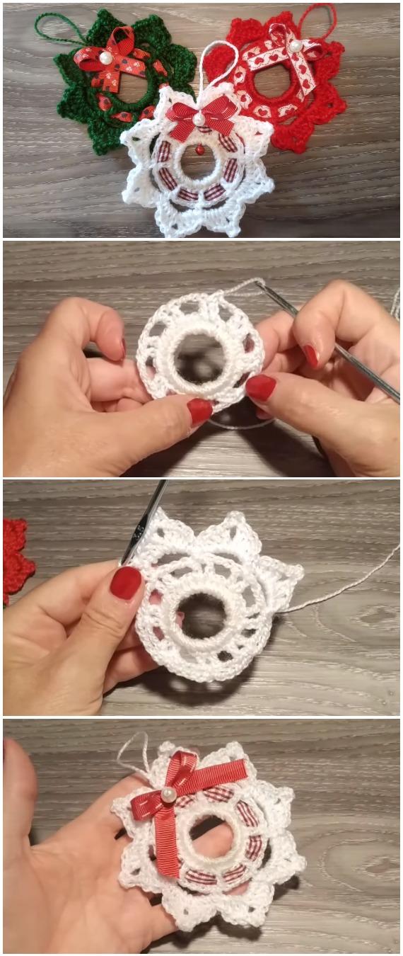 Learn To Crochet Wreath Christmas Ornament