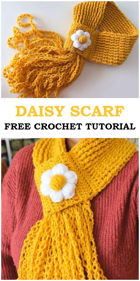 Crochet Daisy Scarf