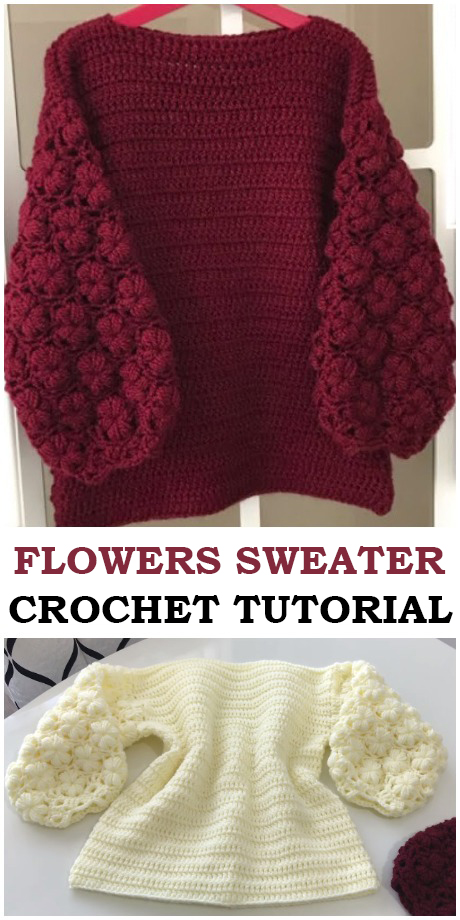 Crochet Easy Flowers Sweater
