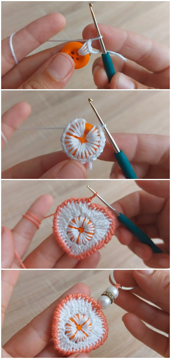 Porta-chaves com botões fáceis de crochê