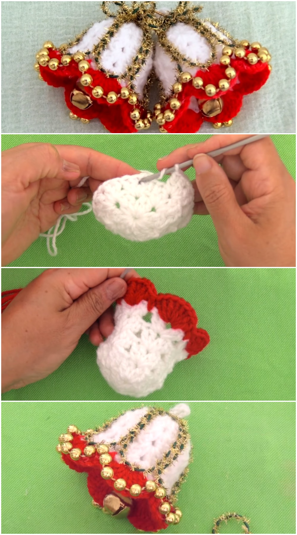 Crochet Christmas Bells With Pearls