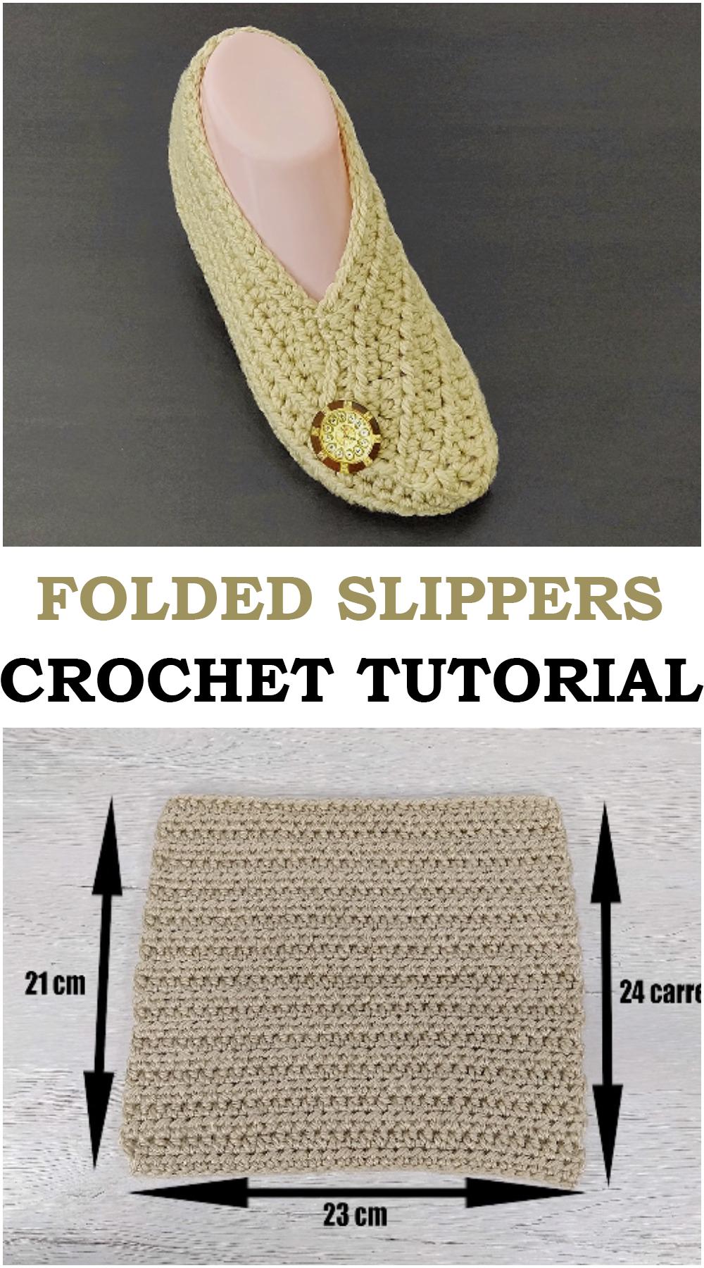 Folded Slippers - Crochet Tutorial